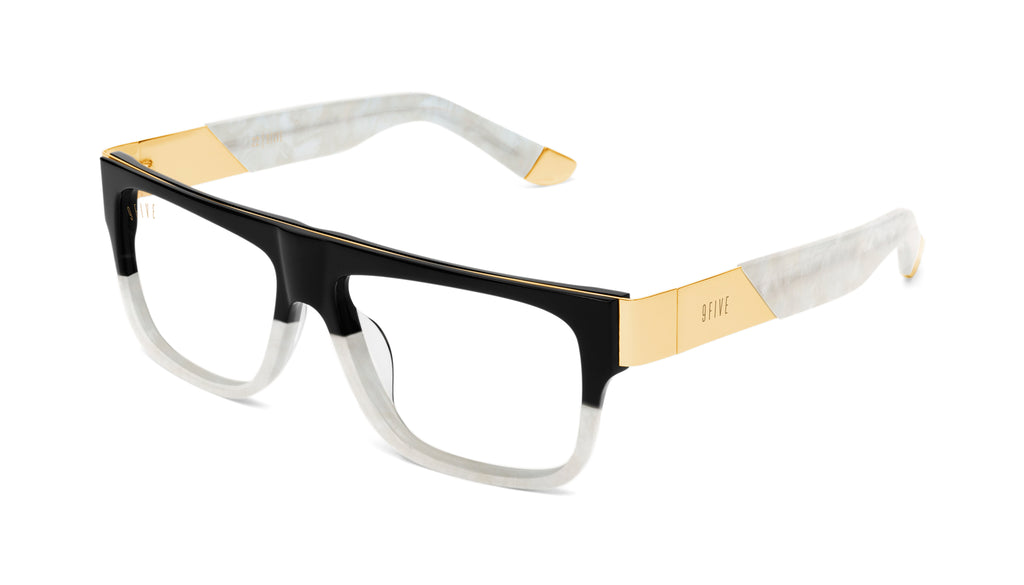 9FIVE 22 Marble Croc & 24k Gold Clear Lens Glasses