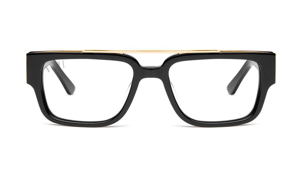 9FIVE 24 Black & 24K Gold Clear Lens Glasses Rx
