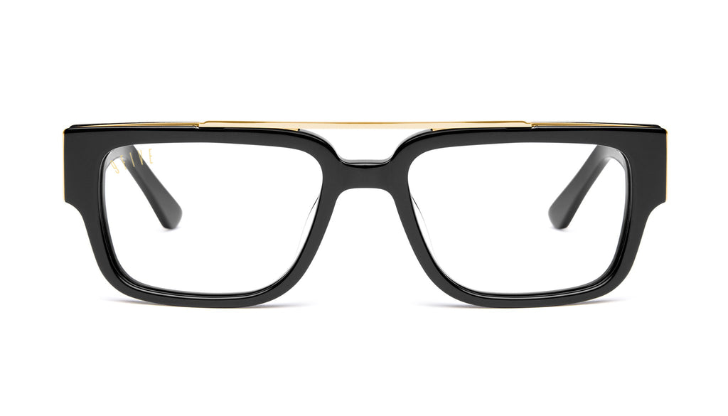 9FIVE 24 Black & 24K Gold Clear Lens Glasses
