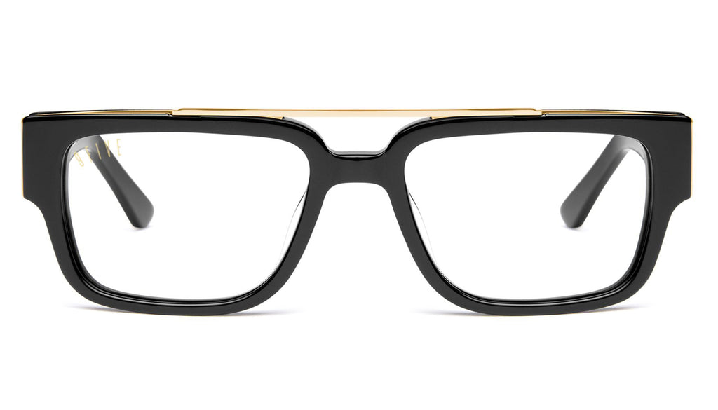 9FIVE 24 Black & 24K Gold XL Clear Lens Glasses