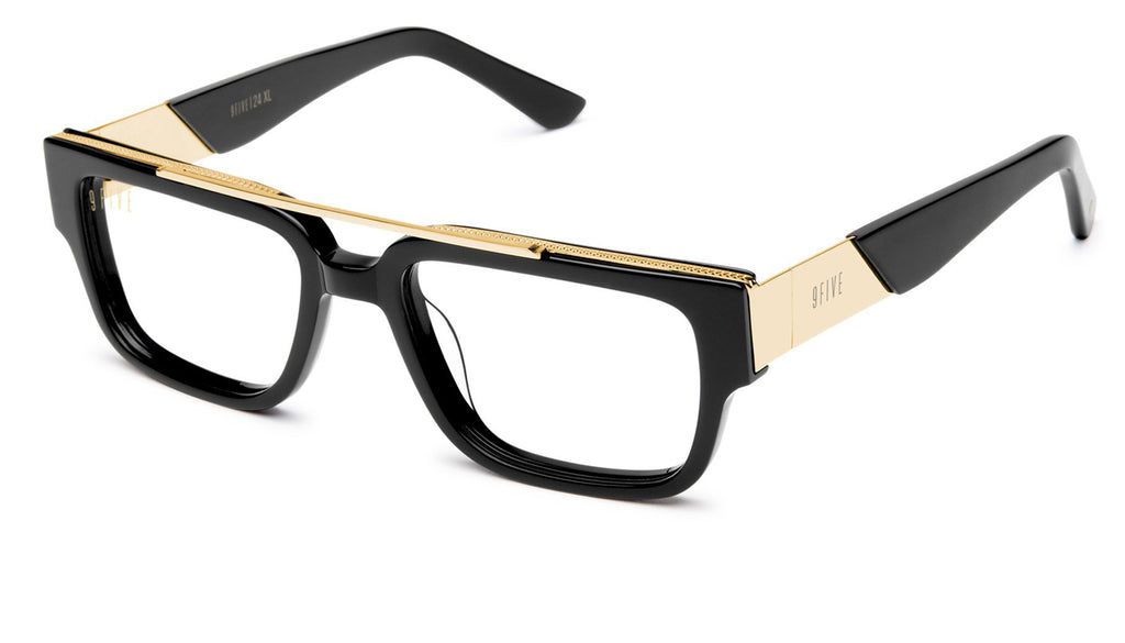 9FIVE 24 Black & 24K Gold XL Clear Lens Glasses Rx