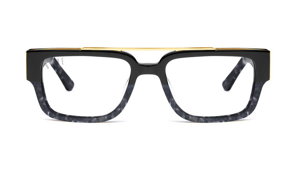 9FIVE 24 Black Marble Croc & 24K Gold Clear Lens Glasses Rx