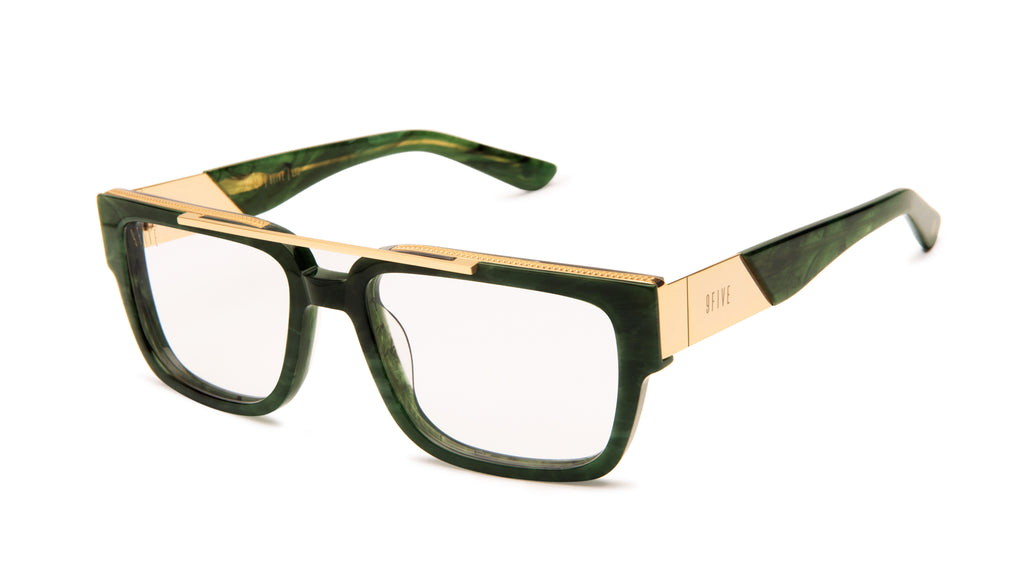 9FIVE 24 Jade Stone & 24k Gold Clear Lens Glasses
