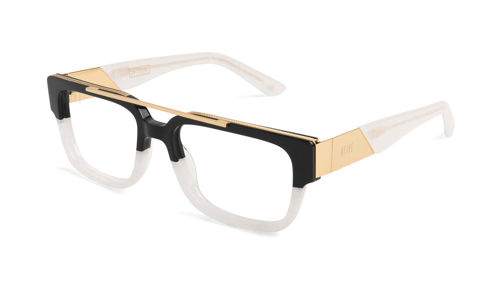 9FIVE 24 Marble Croc & 24K Gold Clear Lens Glasses Rx