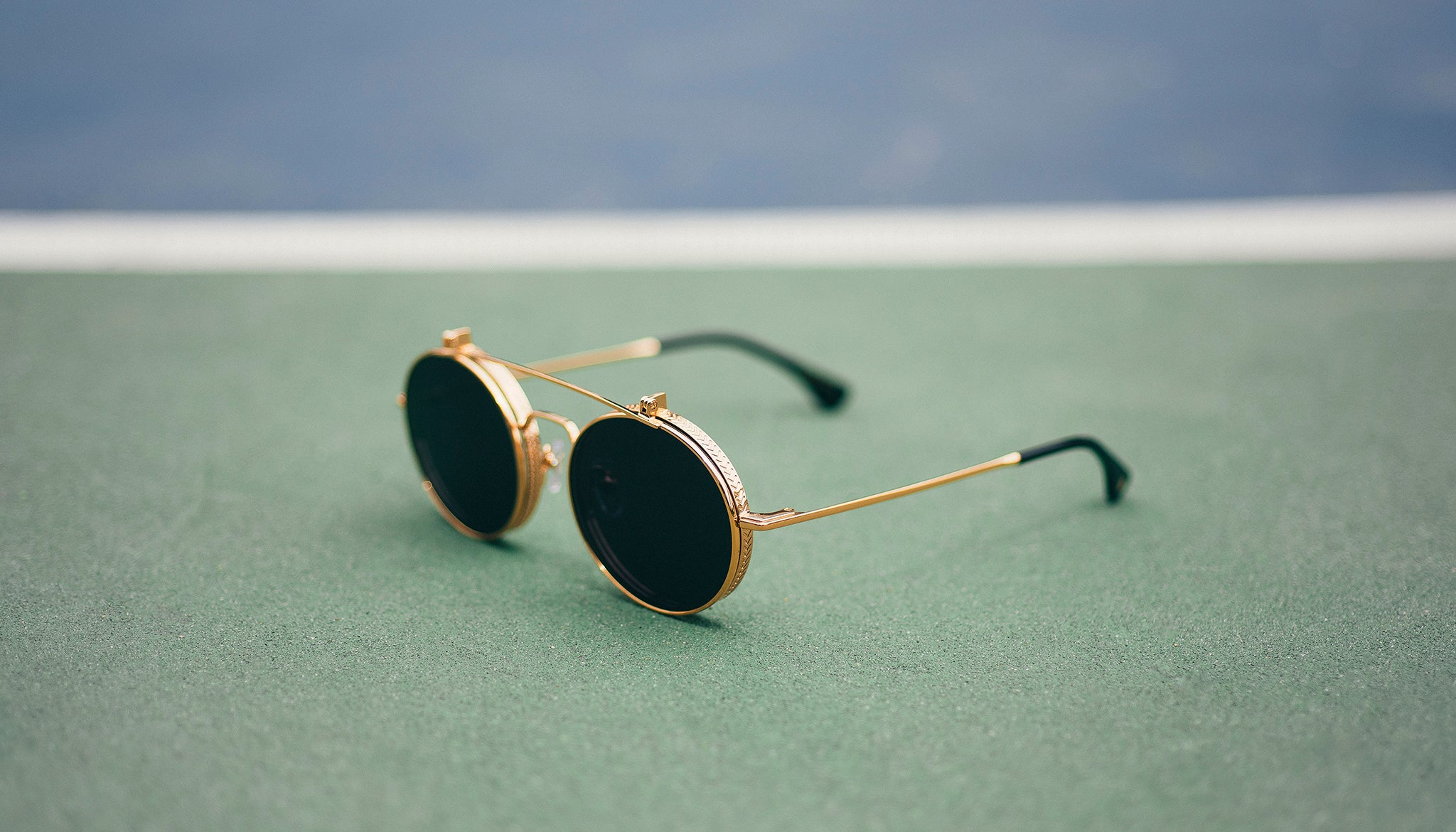 8abfacce58 9FIVE 50-50 Flip-Up 24K Gold Round Sunglasses. 9FIVE 50-50 Flip-Up 24K Gold  Round Sunglasses