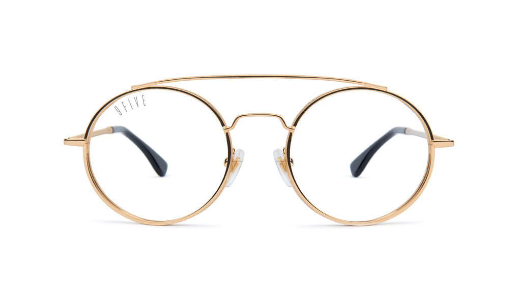 9FIVE 50-50 24K Gold Clear Lens Glasses Rx