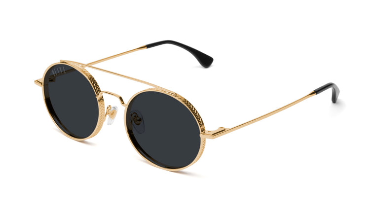 9FIVE 50-50 24K Gold Round Sunglasses