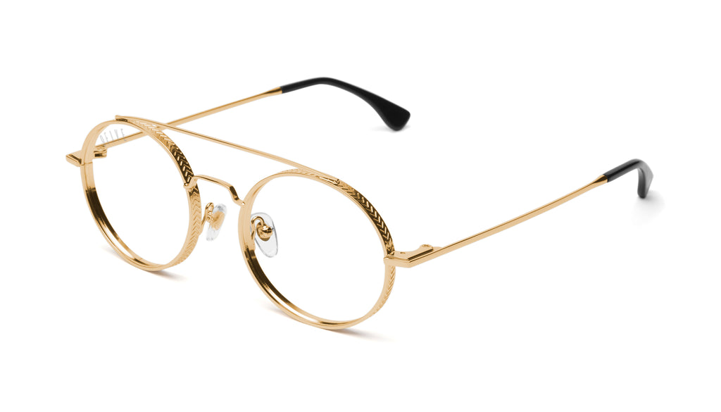 9FIVE 50-50 24K Gold Round Clear Lens Glasses