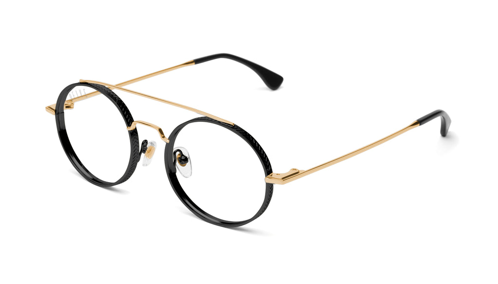 9FIVE 50-50 Black & 24K Gold Round Clear Lens Glasses