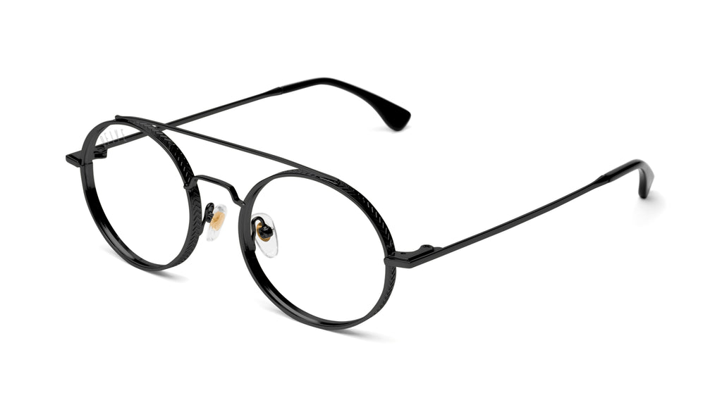 9FIVE 50-50 Blackout Round Clear Lens Glasses