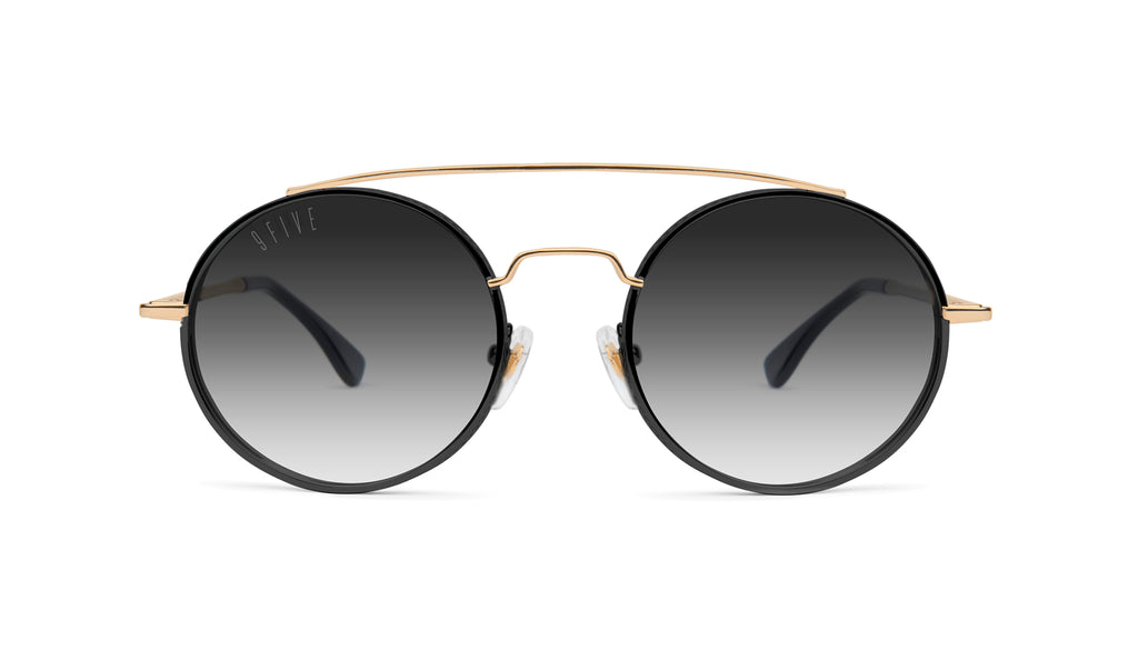 9FIVE 50-50 Black & 24K Gold Round - Gradient Sunglasses