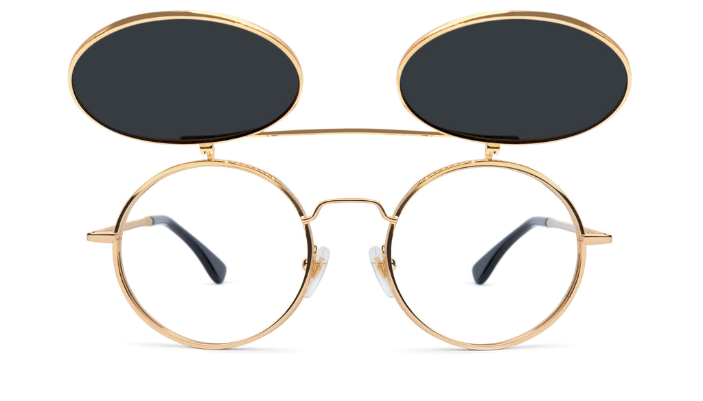 9FIVE 50-50 Flip-up 24K Gold Sunglasses Rx