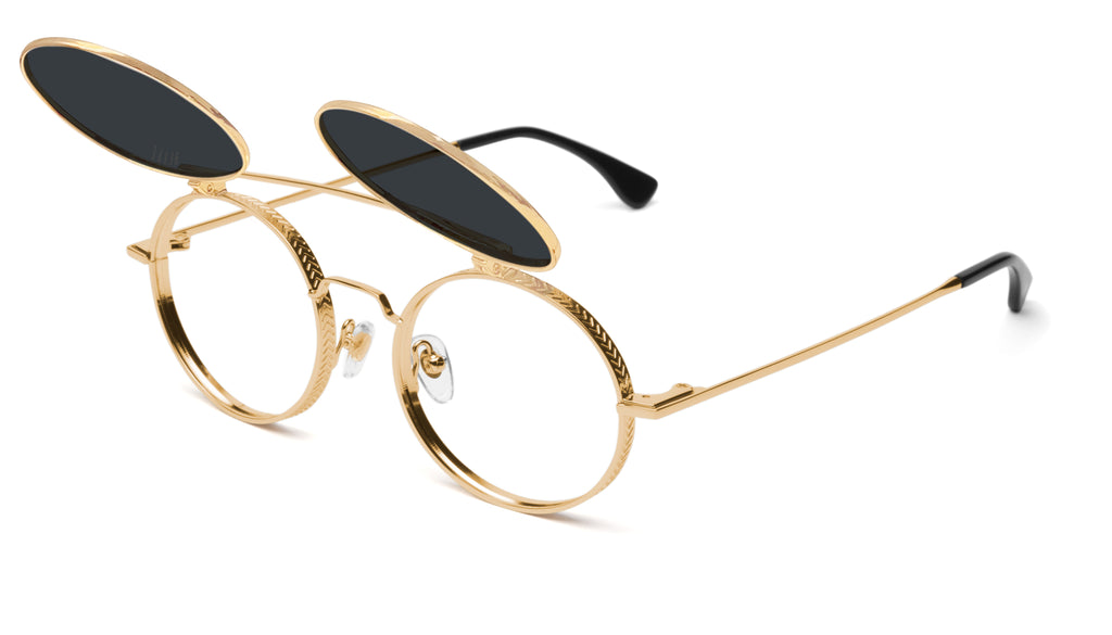 9FIVE 50-50 Flip-Up 24K Gold Round Sunglasses