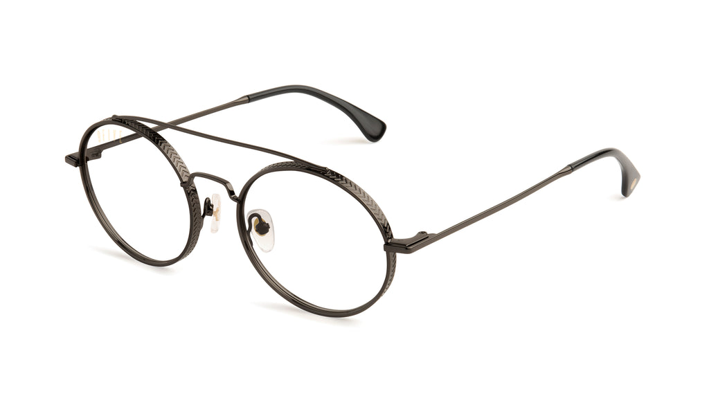 9FIVE 50-50 Gun Metal Clear Lens Glasses Rx