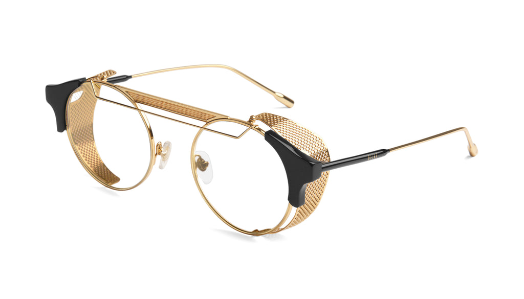 9FIVE 88 Black & 24k Gold Clear Lens Glasses
