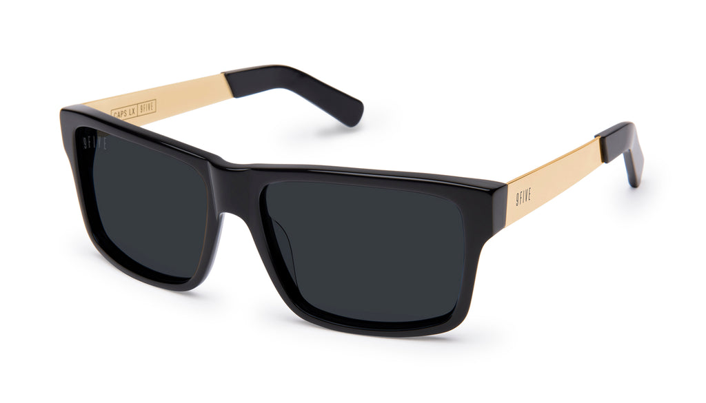 9FIVE Caps LX Black & 24k Gold Sunglasses
