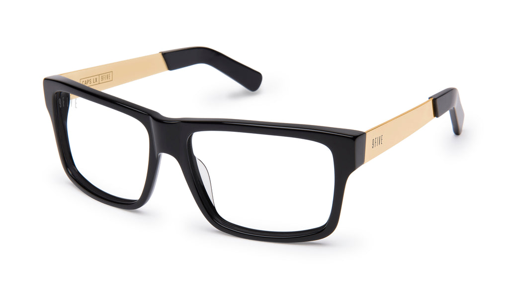 9FIVE Caps LX Black & 24K Gold Clear Lens Glasses