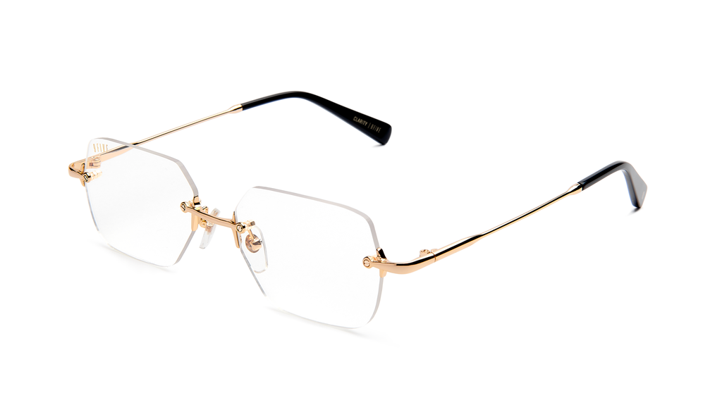 9five Clarity Black and Gold Clear Lens Glasses