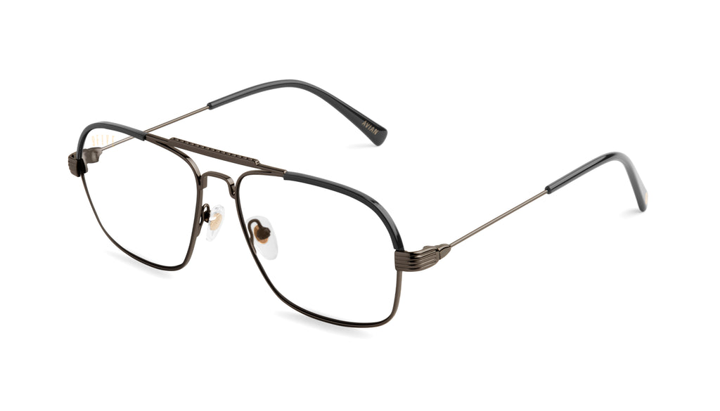 9FIVE Avian Gun Metal Clear Lens Glasses