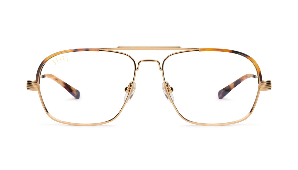 9FIVE Avian Tortoise & 24K Gold Clear Lens Glasses Rx