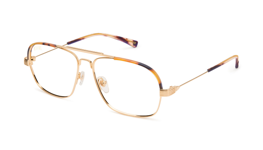 9FIVE Avian Tortoise & 24K Gold Clear Lens Glasses