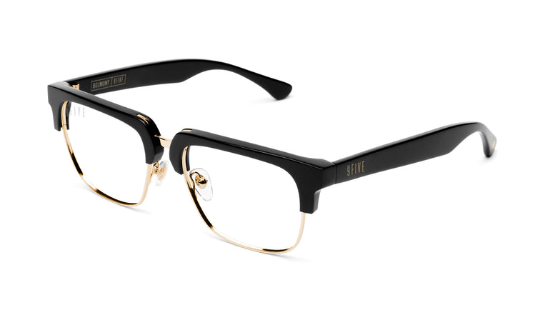 9FIVE Belmont Black and 24K Gold Clear Lens Glasses Rx