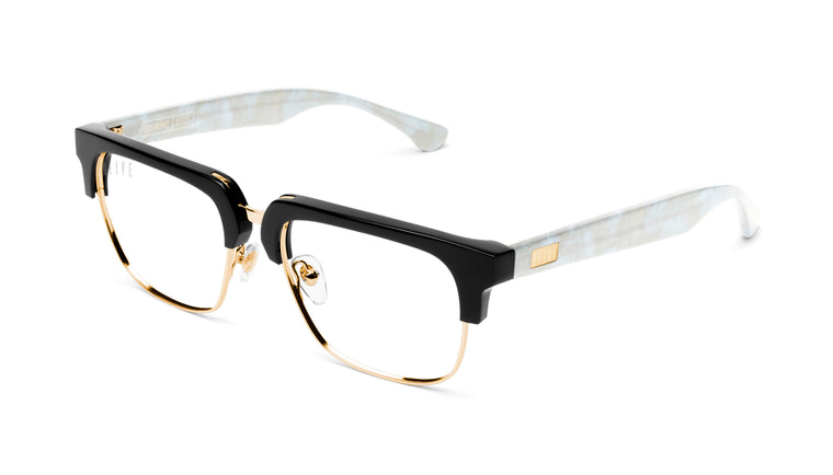 9FIVE Belmont Marble Croc & 24K Gold Clear Lens Glasses Rx