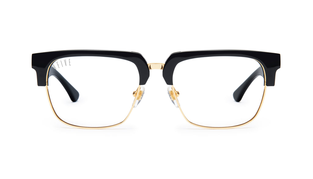 9FIVE Belmont Black & 24K Gold Clear Lens Glasses