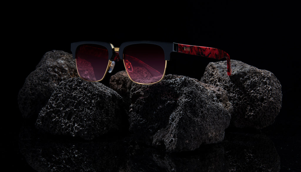 9FIVE Belmont Red Marble & 24K Gold - Red Gradient Sunglasses