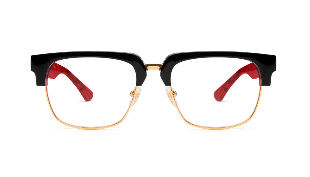 9FIVE Belmont Red Marble & 24K Gold Clear Lens Glasses