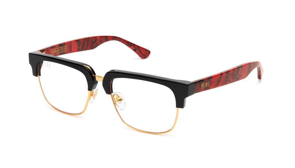 9FIVE Belmont Red Marble & 24K Gold Clear Lens Glasses Rx