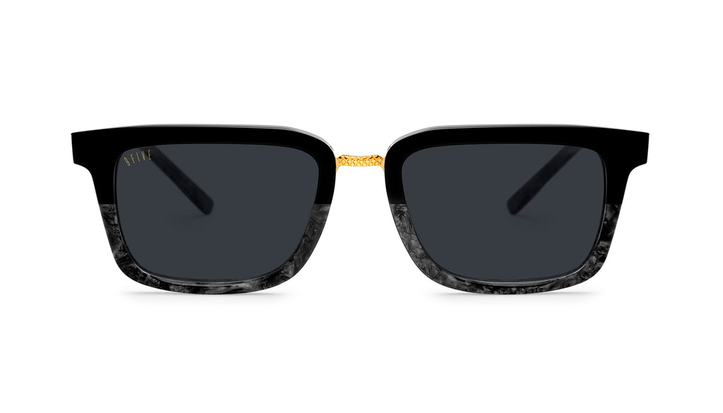 9FIVE Bishop Black Marble & 24K Gold Sunglasses