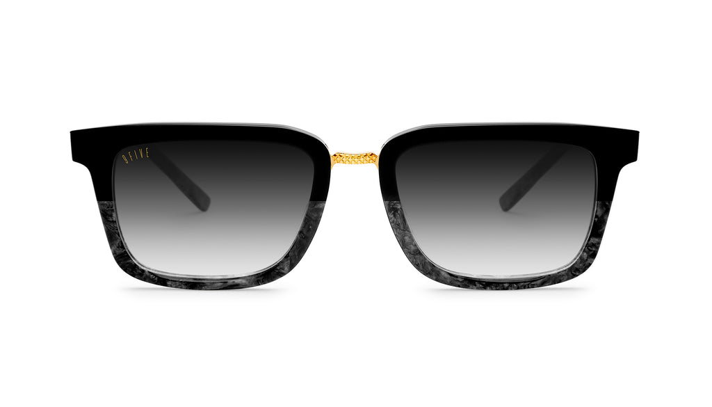 9FIVE Bishop Black Marble & 24K Gold - Gradient Sunglasses