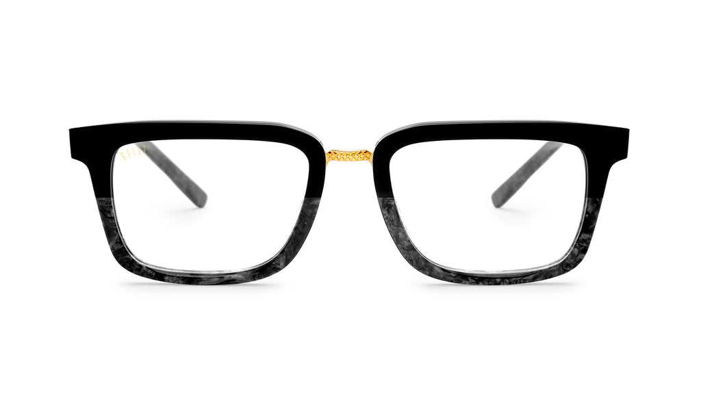 9FIVE Bishop Black Marble & 24K Gold Clear Lens Glasses