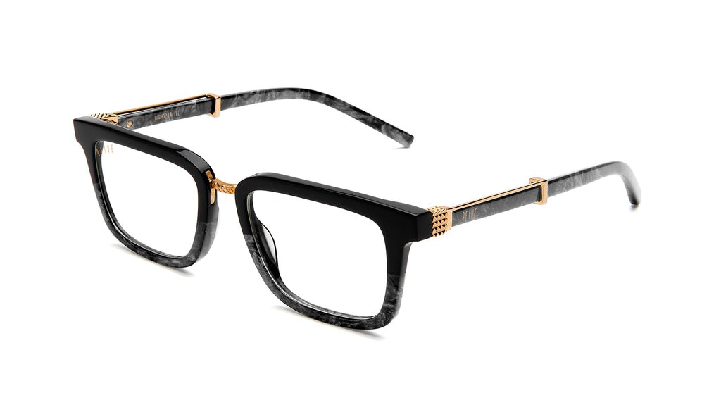 9FIVE Bishop Black Marble & 24K Gold Clear Lens Glasses Rx