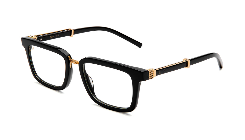 9FIVE Bishop Black and 24K Gold Clear Lens Glasses Rx