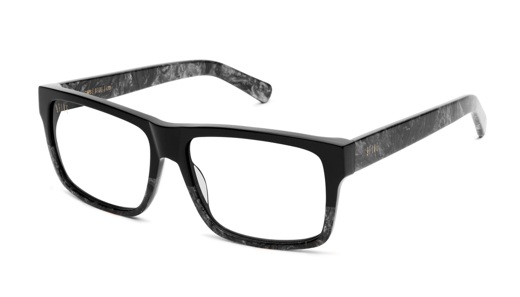 9FIVE Caps Black Marble Clear Lens Glasses