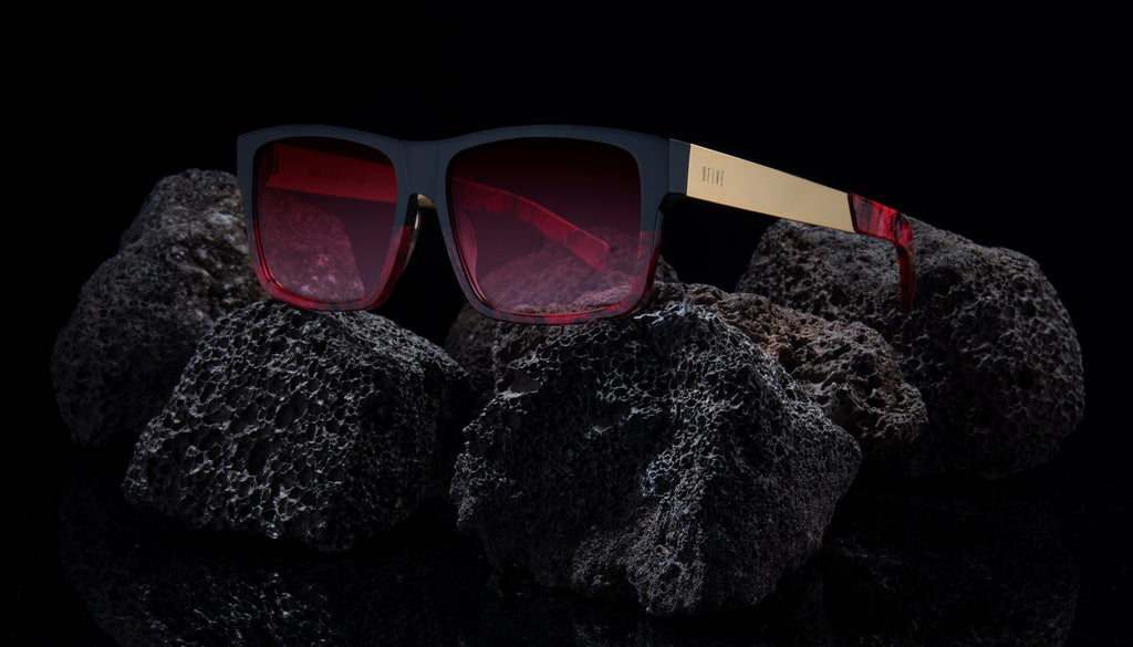 9FIVE Caps LX Red Marble & 24k Gold - Red Gradient Sunglasses