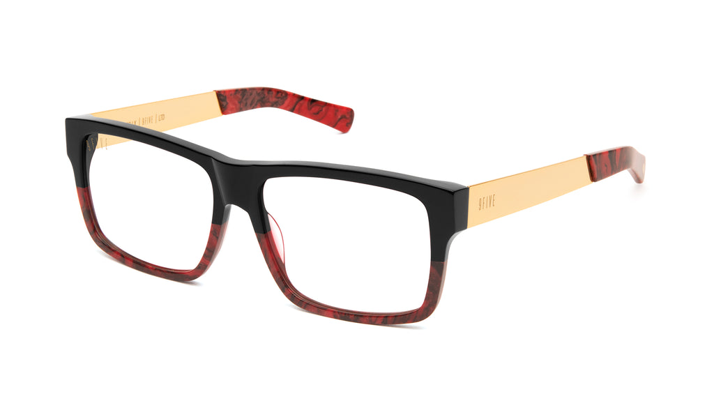 9FIVE Caps LX Red Marble & 24k Gold Clear Lens Glasses Rx