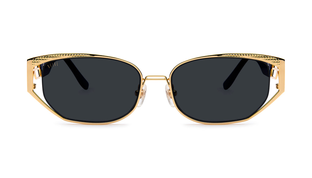 9FIVE Cross Black & 24K Gold Sunglasses