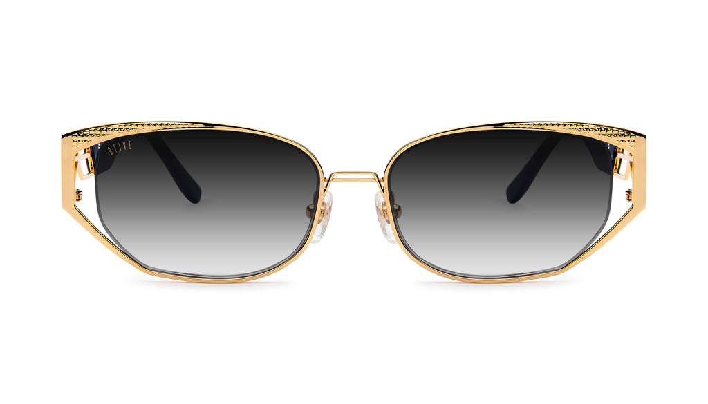 9FIVE Cross Black & 24K Gold - Gradient Sunglasses