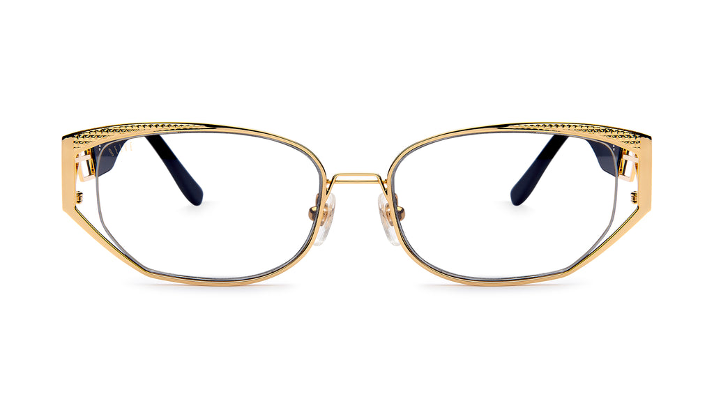 9FIVE Cross Black & 24K Gold Clear Lens Glasses