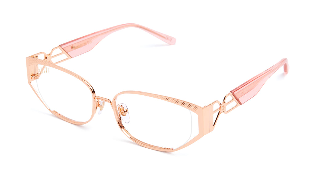 9FIVE Cross Rose Gold Clear Lens Glasses