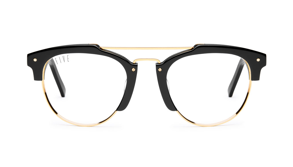 9FIVE Del Rey Black & 24K Gold Clear Lens Glasses