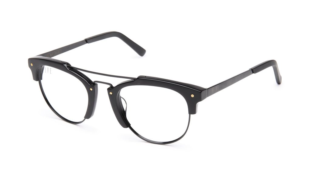 9FIVE Del Rey Matte Blackout Clear Lens Glasses