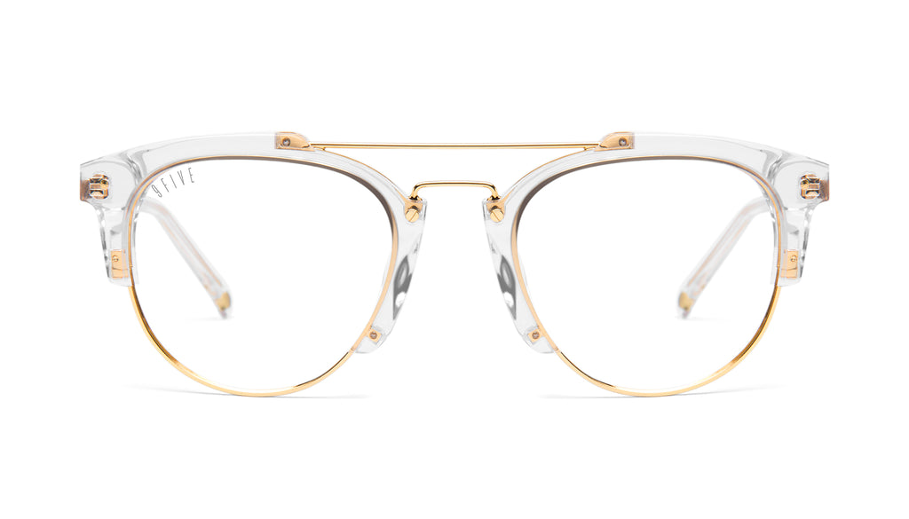 9FIVE Del Rey Crystal & 24K Gold Clear Lens Glasses Rx