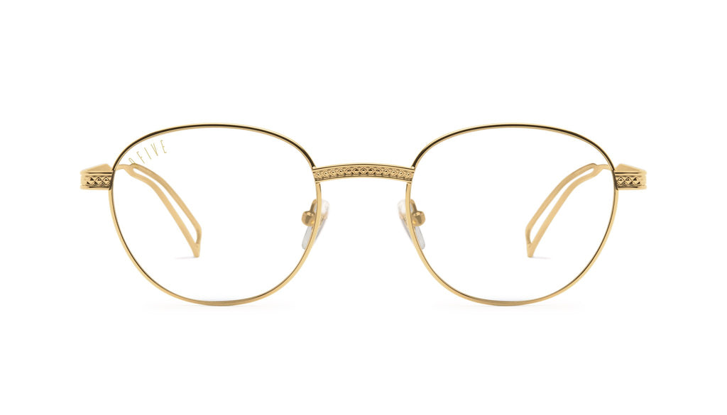 9FIVE Dime 24k Gold Clear Lens Glasses Rx