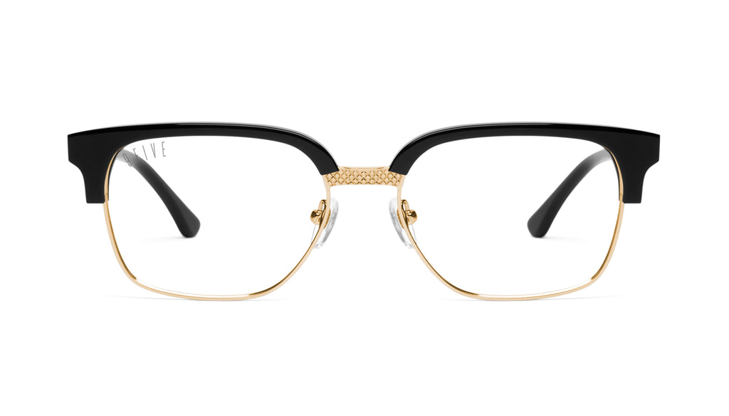 9FIVE Estate Black & 24k Gold Clear Lens Glasses
