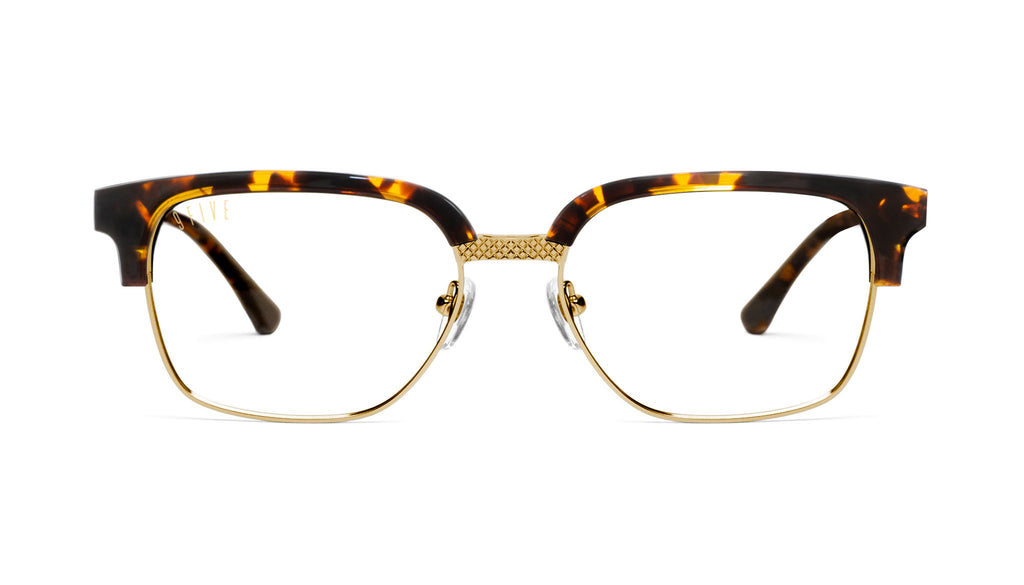 9FIVE Estate Tortoise & 24k Gold Clear Lens Glasses Rx
