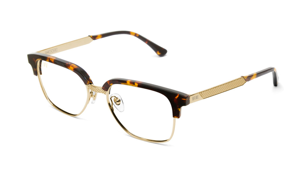 9FIVE Estate Tortoise & 24k Gold Clear Lens Glasses